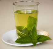 Mint tea with a cake Royalty Free Stock Photography