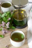 Mint tea in a clear glass teapot, mint leaves and tea cups. Selective focus stock photography