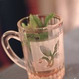 Mint tea closeup. Tripoli, Lybia - May 01, 2002: Mint tea served in tripoli Stock Photos