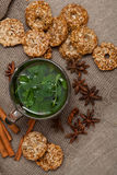 Mint tea with cookies Royalty Free Stock Image