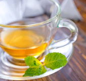 Mint tea. In the cup stock image
