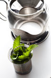 Mint tea with fresh leaves Royalty Free Stock Photography