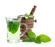 Mint tea with fresh mint leaves Stock Photography