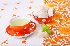 Mint tea with gingerbreads Royalty Free Stock Images