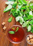 Mint tea. In glass cup and on a table stock image