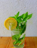 Mint tea in glass. With lemon Stock Photos