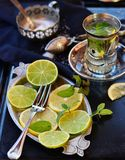 Mint tea with lemon and lime Royalty Free Stock Photo