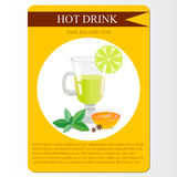 Mint tea with lime menu item or sticker. Stock Photos