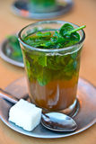 Mint tea, Marocco. The cup of mint tea served in restaurant, Marocco royalty free stock image