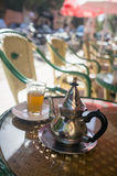 Mint tea in a Marrakesh cafe Stock Photos