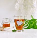 Mint tea with mint leaves and honey Stock Photography