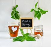 Mint tea with mint leaves and honey Royalty Free Stock Photo