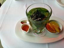 Mint tea with natural aromatic herbs. royalty free stock photography