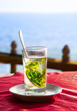 Mint tea with ocean view Stock Photography