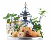 Mint tea and pastries Stock Images