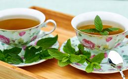 Mint tea served in porcelain cups on wooden tray. Mint herbal tea served in teacups with sacers and silver spoon with fresh leaves all around on wooden tray royalty free stock photography