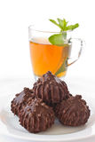 Mint tea and sweet cakes Royalty Free Stock Photography