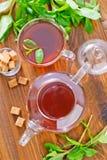 Mint tea. On a table stock photos