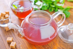 Mint tea. On a table stock images