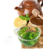Mint tea in a transparent glass cup Royalty Free Stock Photo