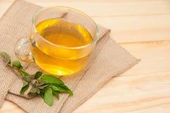 Mint tea. On wooden background stock photo