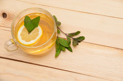 Mint tea. On wooden background royalty free stock photography