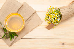 Mint tea. On wooden background royalty free stock image
