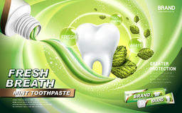 Mint toothpaste ad. Contained in green tube, with mint leaves and green breath surrounding royalty free illustration