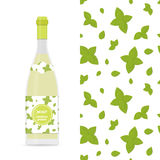 Mint vector colorful seamless pattern and bottle of limonade. Mint vector colorful seamless pattern for design of holiday decoration, greeting card, gift Stock Image