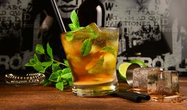 Mint Whisky Cocktail. On wooden Background stock photos