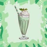 Mint and White Chocolate Milkshake recipe. Menu element for cafe or restaurant with milk fresh drink. Fresh cocktail for healthy. Mint and White Chocolate vector illustration