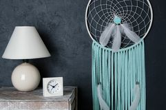 Mint white dream catcher on black background Royalty Free Stock Images