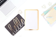 Mint White and Gold Styled Desktop on White Desk stock photography