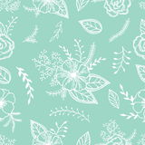 Mint and white seamless  pattern with anemones, roses and leaves on a mint color Royalty Free Stock Image