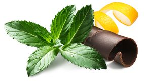 Free Mint With Chocolate And Citrus Peel, Paths Stock Photo - 165960890