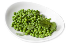 Minted Peas Isolated on White. Dish of sugar snap peas with mint, isolated on white Stock Photography