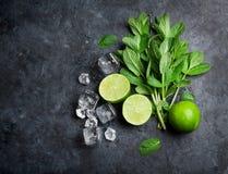 Mintkaramell, limefrukt och is arkivfoto