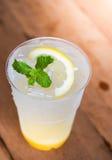 Mintkaramellblad på italiensk citronsodavatten Royaltyfri Foto