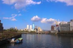 Mintkaramellen och Osaka Business Park royaltyfri fotografi
