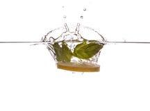 Mintkaramellsidor och citronskiva Arkivfoton