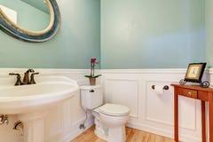 Mintkaramellväggar i det vita badrummet med den antika handfatet står royaltyfri foto