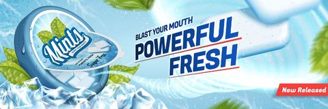 Mints gum ads. Freshen breath product with ice cubes and mint leaves isolated on blue background Royalty Free Stock Image