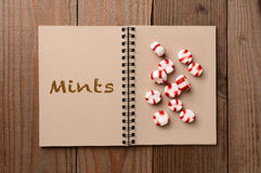 Mints on an Open Notebook Royalty Free Stock Photography