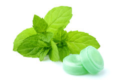 Mints for throat with a sprig of mint. Candies for the throat with sprig of mint isolated on a white background Royalty Free Stock Photography