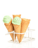 Minty Ice Creams. With waffle cones on a white background Stock Photography