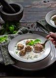 Minty turkisk yoghurtsoppa med köttbullar Royaltyfri Foto
