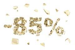 Minus eighty five percent discount emblem composition isolated. Minus eighty five percent discount emblem composition made of broken into golden pieces metallic royalty free illustration