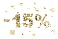 Minus fifteen percent discount emblem composition. Made of broken into golden pieces metallic symbols Stock Image