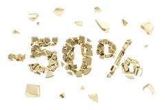Minus fifty percent discount emblem composition isolated. Minus fifty percent discount emblem composition made of broken into golden pieces metallic symbols Stock Photo