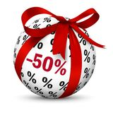 Minus 50 Fifty Percent! Sphere Present. Discount -50%. Discount -50% - White Spherical Advertising Symbol with Red Gift Bow and Minus 50 Fifty Percent Texture royalty free illustration